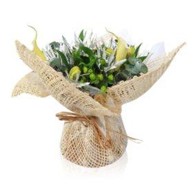 Mini Arrangement, Burlap Calla Lilies and Eucalyptus (5 arrangements)