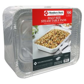 Member's Mark Aluminum Steam Table Pans, Half Size (100 ct.)