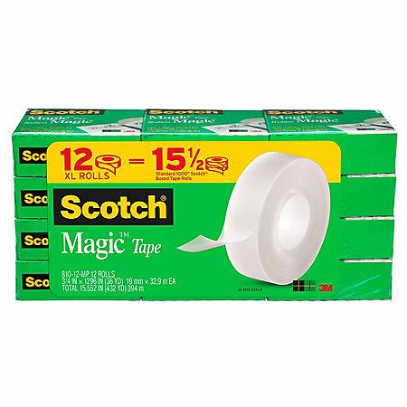 """Scotch Magic Tape, 1"""" Core, 3/4"""" x 1296"""", Clear, 12pk."""