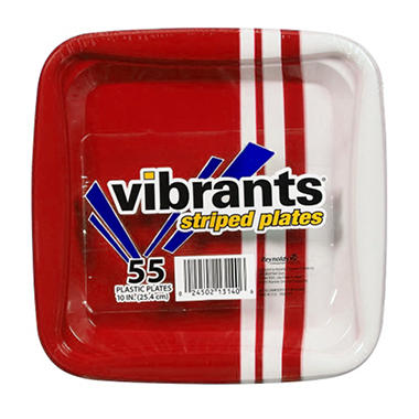 Vibrants Striped Plastic Plates - Red - 55 ct.