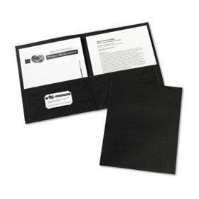 Avery Two-Pocket Embossed Paper Portfolio, 30-Sheet Capacity, Black - 25 ct.