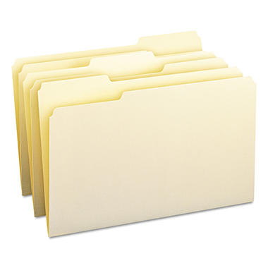 Smead 1/3 Cut Assorted Position File Folders, Legal, Manila, 100ct.