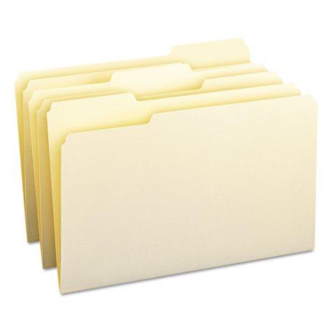 Smead 1/3 Cut Assorted Position File Folders, Legal, Manila, 100ct.