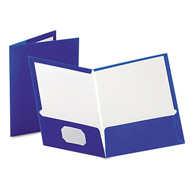 Oxford High Gloss Laminated Paperboard Folder, 100-Sheet Capacity, Blue - 25 ct.