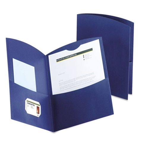 Oxford Contour Two-Pocket Recycled Paper Folder, 100-Sheet Capacity - Dark Blue