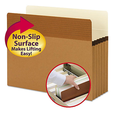"""Smead 5 1/4"""" Easy Grip Accordion Expansion Pockets, Redrope (Letter, 10ct.)"""