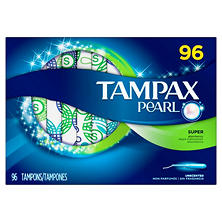 Tampax Pearl Unscented Tampons, Super (96 ct.)