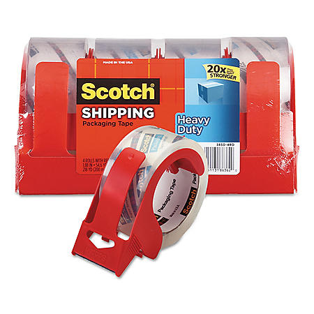"Scotch 3850 Heavy-Duty Packaging Tape, 1.88"" x 54.6yds, 3"" Core, Clear, 4pk."