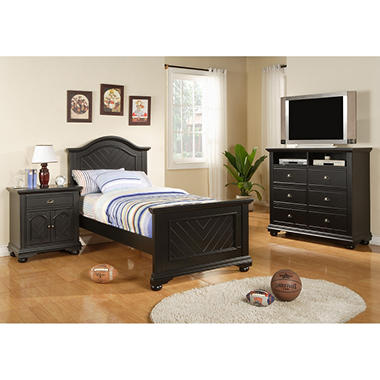 Addison Black Panel Bed (Choose Size)