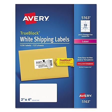 Avery TrueBlock Shipping Labels, Laser, 2 x 4, White, 1,250ct.