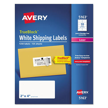 Avery TrueBlock Shipping Labels, Laser, 2 x 4, White, 1,250ct.