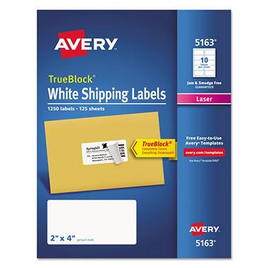 avery trueblock shipping labels laser 2 x 4 white 1 250ct