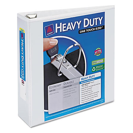 """Avery Heavy Duty View Binder with One Touch EZD Rings - 3"""" Capacity - White - 2 ct."""
