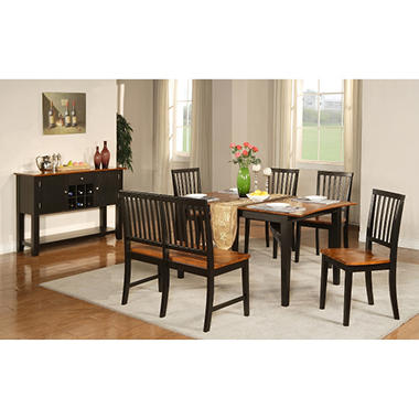 Ava Cherry and Black Dining Set - 7 pc.
