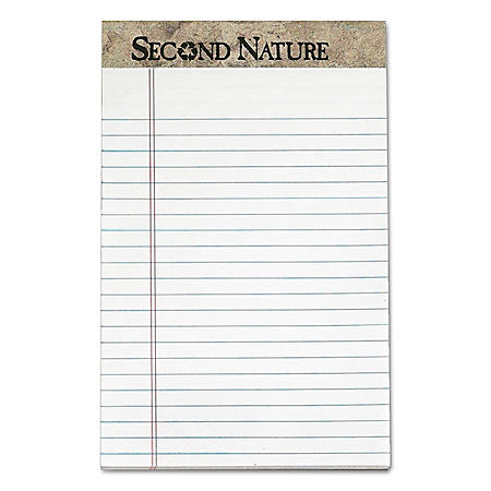 TOPS - Second Nature Recycled Note Pads, Lgl/Margin Rule, 5 x 8, White, 50-Sheet -  Dozen