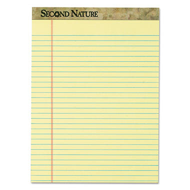 TOPS - Second Nature Recycled Pad, Legal, Red Margin, Letter, Canary, 50-Sheet -  Dozen