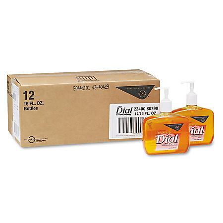 Dial Professional - Liquid Gold Antimicrobial Soap, Floral Fragrance, 16oz Pump Bottle -  12/Carton