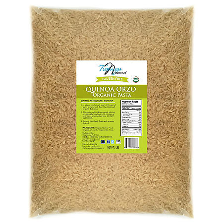 Tresomega Nutrition Organic Quinoa Pasta, Orzo (5 lb. Bag)
