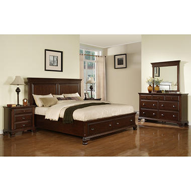 Brinley Cherry Storage Bedroom Set Choose Your Size