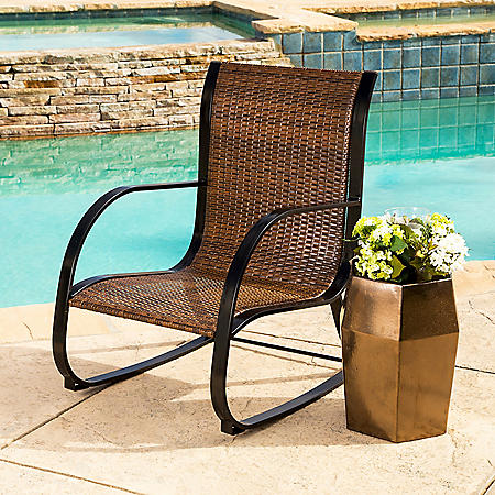 Madison Brown Wicker Outdoor Rocking Chair
