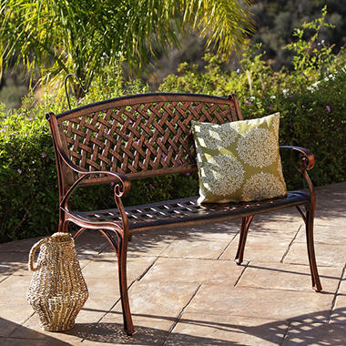Skylar Copper Cast Aluminum Outdoor Bench