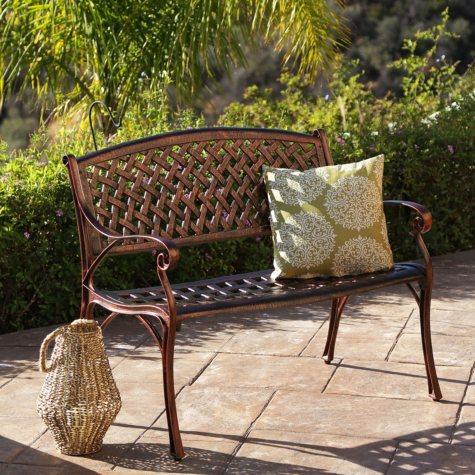 Skylar Copper Cast Aluminum Outdoor Bench