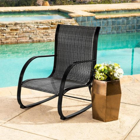 Madison Black Wicker Outdoor Rocking Chair