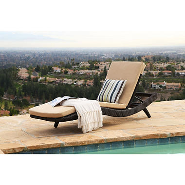Atlantic Espresso Wicker Outdoor Chaise Lounge With Cushions