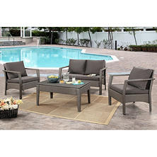Evelyn Gray Outdoor Wicker 4-Piece Sofa Set with Cushions