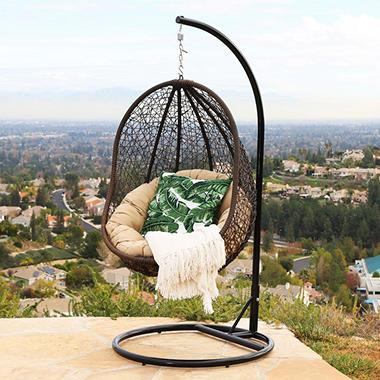 Chloe Espresso Wicker Outdoor Swing Chair Sam S Club
