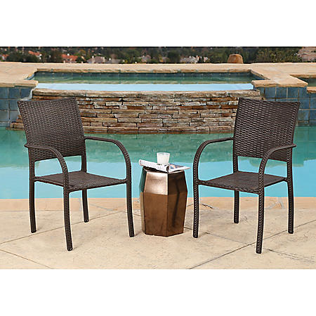 Malibu Wicker Stackable Outdoor Club Chairs Set Of 2