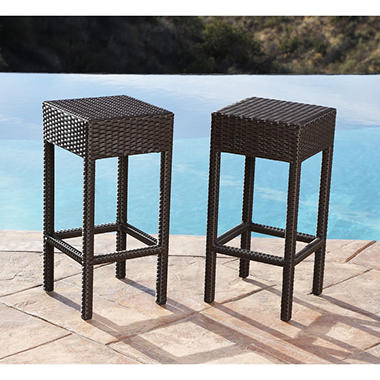 Natalie Wicker Outdoor Bar Stools, Set of 2