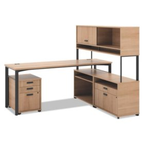 """basyx 72"""" Manage Series L-Workstation with Pedestal & Overhead Storage, Select Color"""
