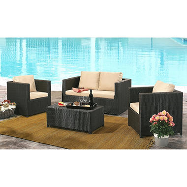 Cancun Espresso Outdoor Wicker 4 Piece Sofa Set With Cushions