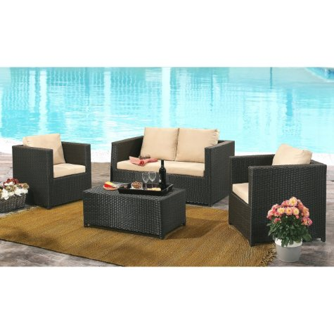 Cancun Espresso Outdoor Wicker 4-Piece Sofa Set with Cushions