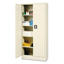 "Alera 66"" 4-Shelf Space Saver Storage Cabinet, Putty"