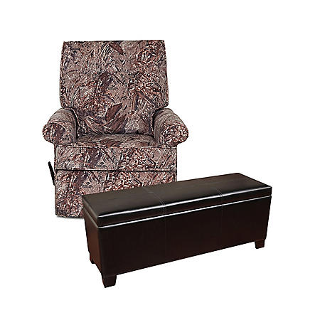 Camo Rocking Recliner and 5-Gun Concealment Bench Bundle