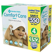 Member's Mark Comfort Care 2-Month Supply Size 4 Diaper (352 ct.)
