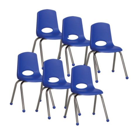 """ECR4Kids 16"""" Ball Glide Stack Chair with Chrome Legs, Select Color - 6 Pack"""