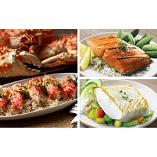 Copper River Seafood Premium Seafood Pack, Halibut (4 lbs.), Salmon (3 lbs.), Crab (3 lbs.)