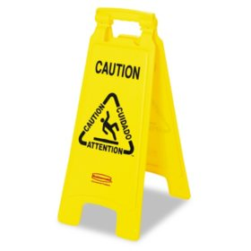 "Rubbermaid Floor Sign with Multi-Lingual ""Caution"""