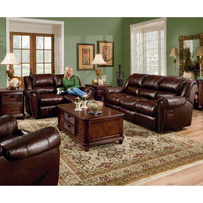 Lane Sidney Leather Reclining Sofa Set 3 pc Sams Club