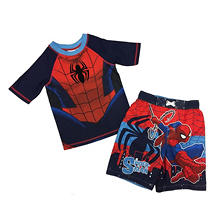 Spiderman Rash Guard And Swim Trunk Set