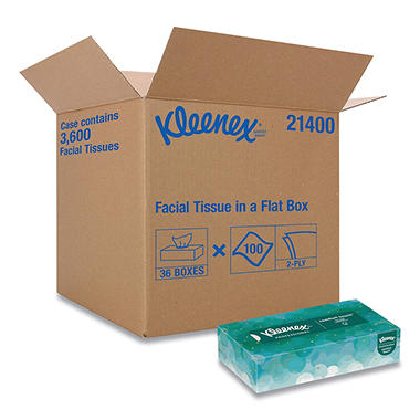 Kleenex White 2-Ply Facial Tissue, Pop-Up Box (100/box, 36 boxes/carton)