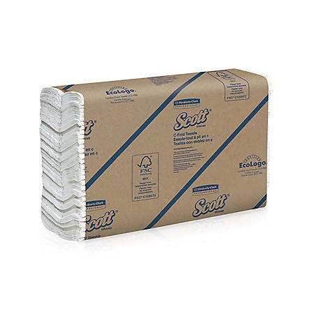 Kimberly-Clark Professional - SCOTT C-Fold Paper Towels, 10 1/8 x 13 3/20, White, 200/Pack -  12 Packs/Carton