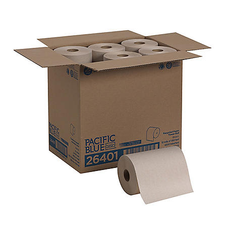 Pacific Blue Basic Recycled Paper Towel Roll, 350 Feet, 12 Rolls (26401)