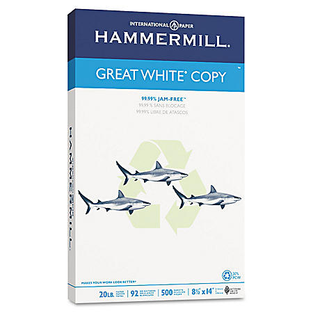"""Hammermill - Great White 30% Recycled Copy Paper, 20lb, 92 Bright, 8-1/2 x 14"""" - Ream"""