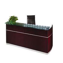 "Mayline Napoli Series 87"" Wood Veneer Reception Desk, Mahogany"