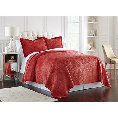 lenox quilted 3-piece coverlet set - sam's club