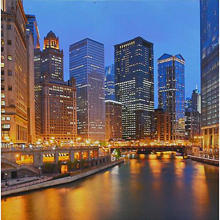 LIGHTED CITY PTM WALL ART